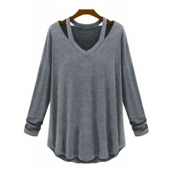 V Neck Cut out Long Sleeve Solid Tee