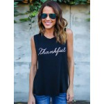 Women's Casual Sleeveless Letter Printed Pullover Loose Tank